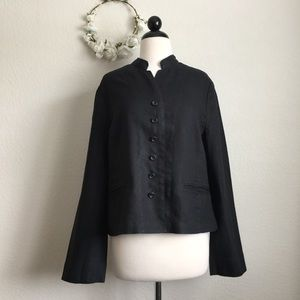 Anne Klein Mandarin Collar Black Linen Jacket